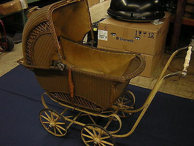 Cartoy Antique / Vintage Wicker Baby Carriage Stroller