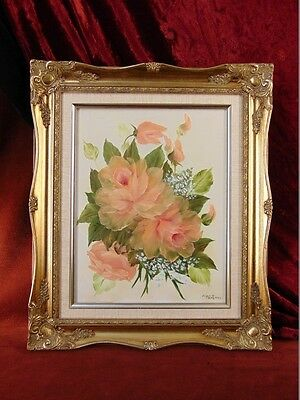 PEACH ROSES BOUDOIR PAINTING Forget Me Not GOLD GILT FRAME Oil on Canvas