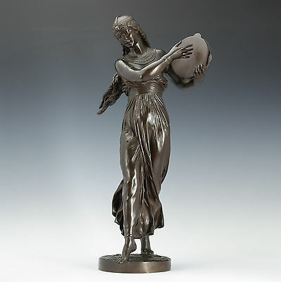 Arthur Bourgeois (1838 – 1886) Égyptien Danseuse 1886 Sculpture Figure De Bronze