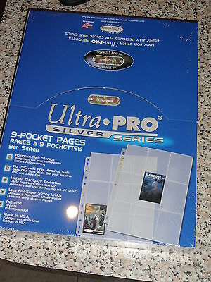Ultra Pro 9 Pocket Pages X 100 Silver Series Free Shipping