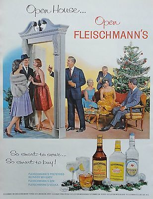 1960  PRINT AD FLEISCHMANN'S open house at Christmas time welcoming guests