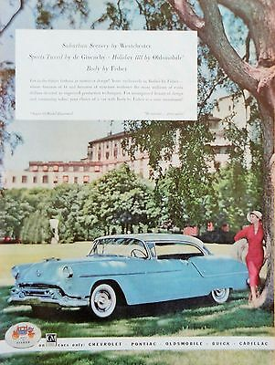 1954 PRINT AD SUPER 88 HOLIDAY OLDSMOBILE Westchester scenery lady  de Givenchy