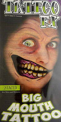 Tinsley Transfers Two Faced Big Mouth Face Halloween Costume Makeup Tattoo FX