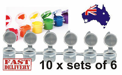 10 x Set of 6 Kids Arts Craft Mini Resealable Plastic Paint Pots Tubs (6x5ml)