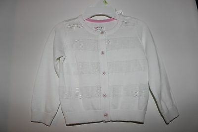The Children's Place White/pink Button Down Eyelet Knit Sweater Size 2T Nwt!!!