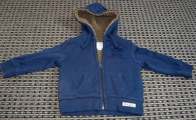 Country Road Baby Boys Navy Zip Front Hooded Jacket Sz  9 - 12 Months