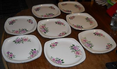 "Vtg Lot Of 8 Paden City Pottery China Roses 9.3/4"" Dinner Plate's Silver Edge"