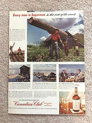 Canadian Club Whiskey Magazine Ad - 1949 Ad - Every Man Is Superman