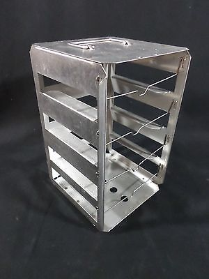 "NALGENE Stainless Steel SS 4-Position 2"" Cryogenic CryoBox Freezer Rack 5036"