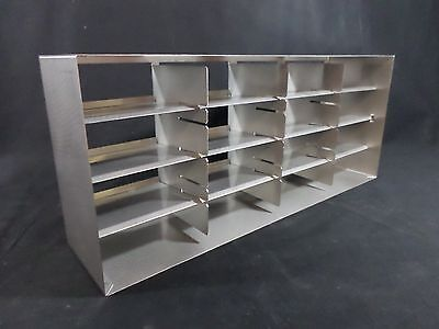 """Lab Stainless Steel SS 12/16-Position 2-3"""" Box Adjustable Upright Freezer Rack"""