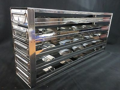 "Laboratory Stainless Steel 5-Drawer 25-Position 2"" Std Box Upright Freezer Rack"