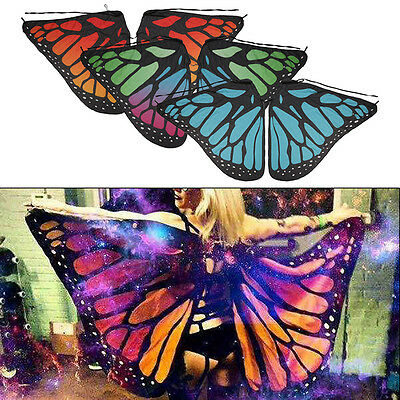 UK Soft Fabric Butterfly Wings Shawl Fairy Ladies Nymph Pixie Costume Accessory