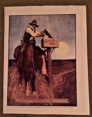 Cream Of Wheats famous AD 1906 N.C.Wyeth Where The Mail Goes Cream Of Wheat Goes