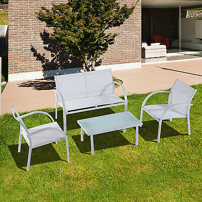 Outsunny Ensemble Salon de Jardin 4 Places Table Basse en Textilène et Fer Blanc