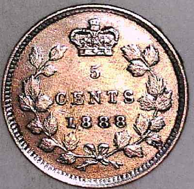 1888 VF Canadian Five Cents Silver #1 -scuff on cheek
