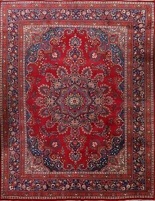 """Great Deal Hand Knotted Red 10x13 Mashad Persian Oriental Area Rug 12' 5"""" x 9' 8"""