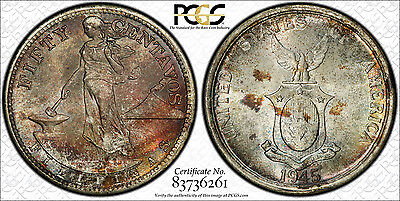 US Philippines 1945-S Fifty Centavos PCGS MS 66 *RAINBOW TONED* ~CPPM~