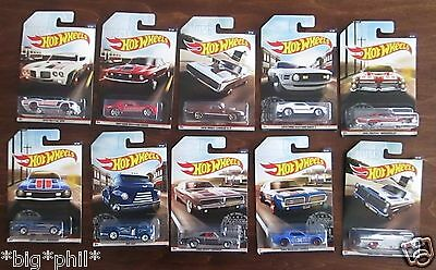 Hot Wheels 2017 VINTAGE AMERICAN MUSCLE Complete Set of 10 (A+/A)