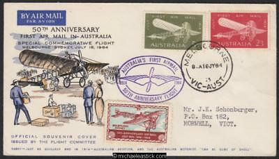 16 July 1964, 50th Anniv. of first Melbourne-Sydney air mail, (AAMC 1522)