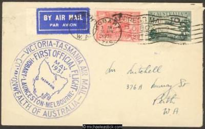 30 Apr 1931, Hobart to Melbourne then to Perth with circular cachet (AAMC 197)