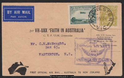 5 Apr 1934 'FAITH IN AUSTRALIA' Australia to New Zealand (AAMC 369)