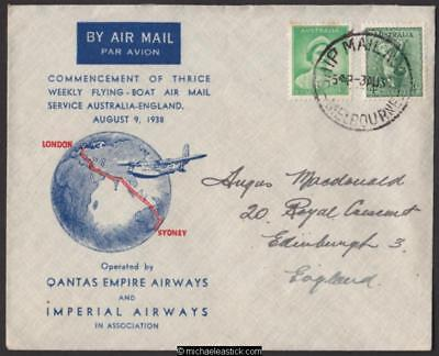 4 August 1938, 1st Regular Air Mail to England, (AAMC 826)