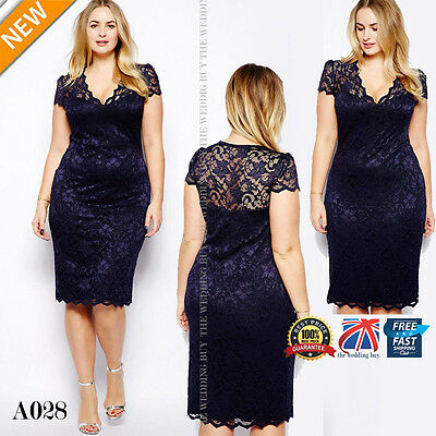 Womens Ladies Bodycon Midi Lace Pencil Cocktail Party Evening Dress 16-20 A028