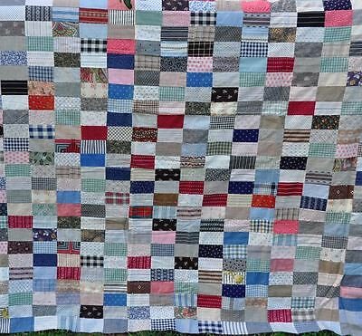 1880-1920's WONDERFUL ONE PATCH BLOCK ANTIQUE VINTAGE QUILT TOP – CRISPY AS NEW!