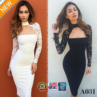 Womens Lace Long Sleeve Choker Ladies Formal Cocktail Party Bodycon Dress A031