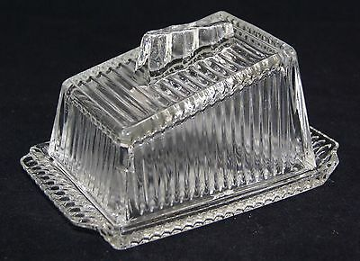 Vintage Ribbed Glass Cheese/Butter Dish.