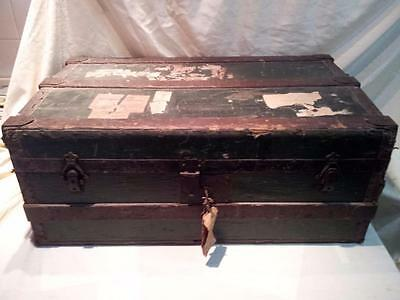 """Antique  Trunk With Wood Binding , Great For Coffee Table + Storage 33""""x19""""x13"""""""
