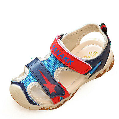 Kids Baby Boy Closed Toe Soft Leather Sandals Toddler No-Slip Flat Shoes Sneaker