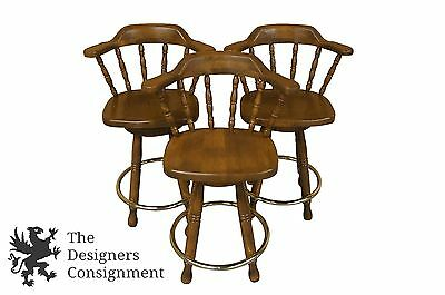 3 Windsor Back Early American Style Maple Bar Stools Brass Foot Croatia Spindle
