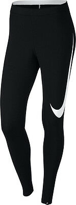 NEW Womens Nike Club Logo 2 Gym Sports Workout Fitted Leggings -Large White Tick