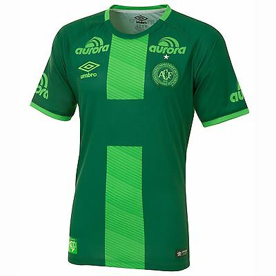 Umbro Mens Gents Football Soccer Chapecoense Away Shirt Jersey Top 2016-17 Green