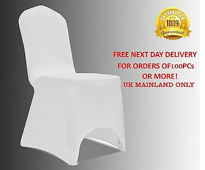 Removable WHITE CHAIR COVERS Wedding Banquet Party Spandex Lycra Arched Front UK
