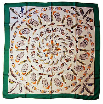 """Vintage Hermes Plume Feather Design 100% Silk Twill Scarf 34"""" Square Green Multi"""