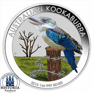 2016 Australia 1 oz Silver Kookaburra BU 1 Dollar Silver Coin coloured