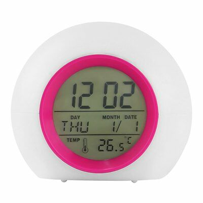 Digital Time Clock 7 LED Change Colors Date Thermometer Glowing Kids Desk Alarm