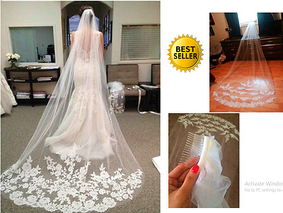 New Bridal Veil White Lace Tulle Edge with Comb Cathedral Length Wedding Dress