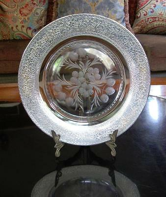 ARTS & CRAFTS STERLING SILVER RIM OVER GLASS CHARGER Floral Cut Plate 1880-1920