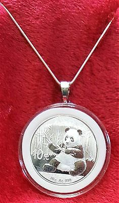"""Panda Pendant, 2017 Chinese 1oz .999 Fine Silver Coin + 22"""" Necklace & Gift Bag"""