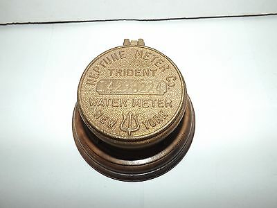 Vintage Brass Trident Water Meter Cover - Neptune Meter Co - New York