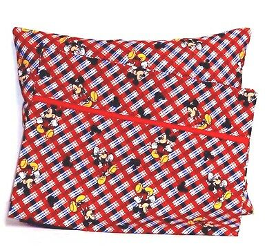 Mickey Mouse Toddler Pillow and Pillowcase on Red&Blue Cotton M5-8 New Handmade