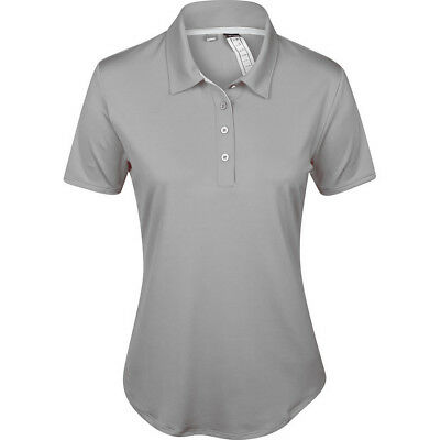 adidas ClimaLite 3 Stripe Ladies Golf Polo Shirt - Grey