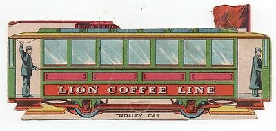 1890s Die Cut Trolley Card Paper Toy Trade Card for Lion Coffee Lion Coffee Line