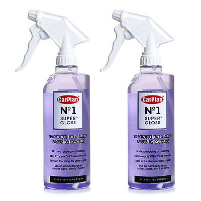 2 x Carplan Super Gloss Car Paintwork Glass Rubber Chrome Shine Treatment Polish
