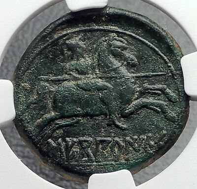 Segobriga Sekobirikes GREEK Spain Horseman Dolphin Rare Ancient Coin NGC i60432