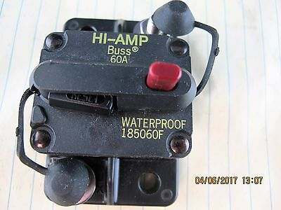 60 Amp Waterproof DC Circuit Breaker Surface Mount BUSS 185060F HI-AMP [E6S2]