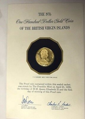 1976 British Virgin Islands  $100 Proof Gold Coin  Struck  First Day Of Minting
